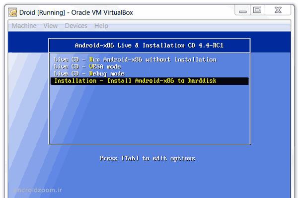 virtualbox android 4-4-kitkat installation