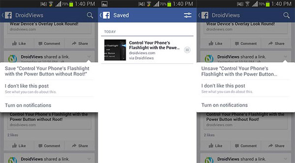save fb post on android