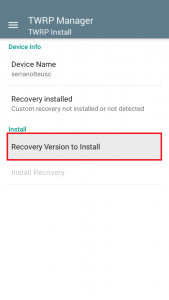 Tap On Recovery Version To Install