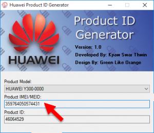 huawei product id generator imei