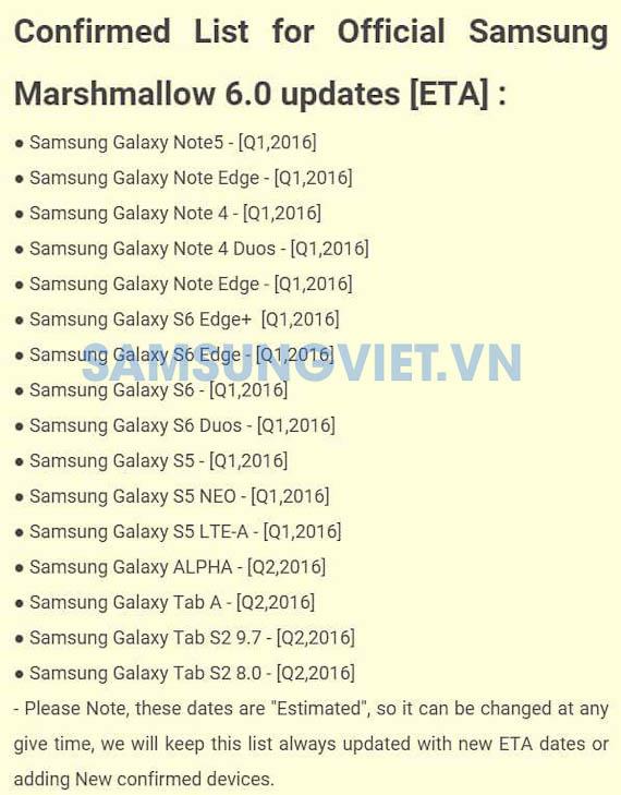 Samsung's Marshmallow update