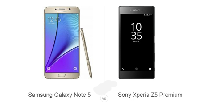 Samsung Galaxy Note 5 vs Sony Xperia Z5 Premium