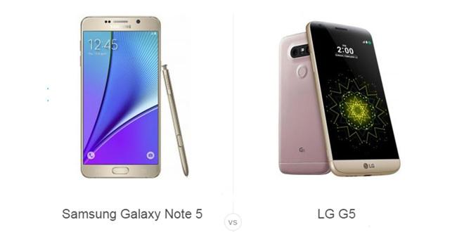 Note 5 vs LG G5