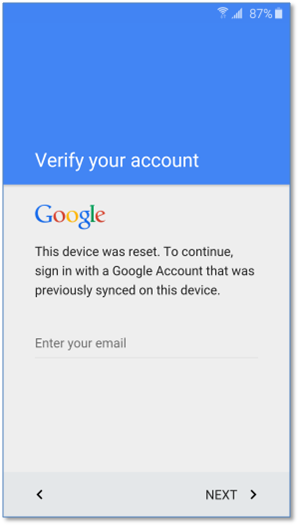google verify screen