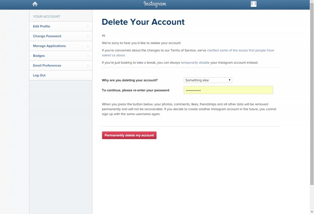 آموزش کامل حذف اکانت اینستاگرام