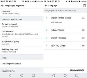 Change the language settings