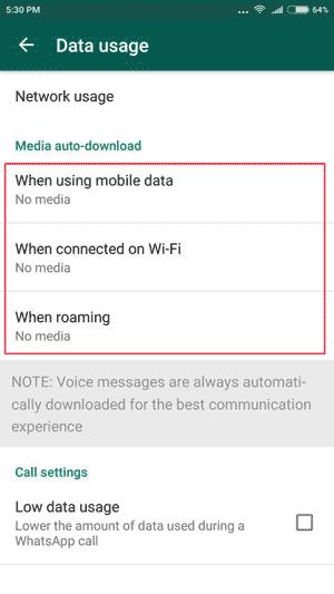 جلوگیری از دانلود فایل در واتس اپ