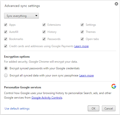 sycs setting in chrome
