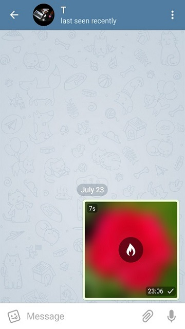 ارسال عکس محوشونده در چت عادی تلگرام