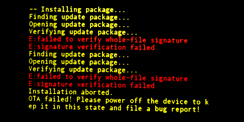 failed to verify whole file signature
