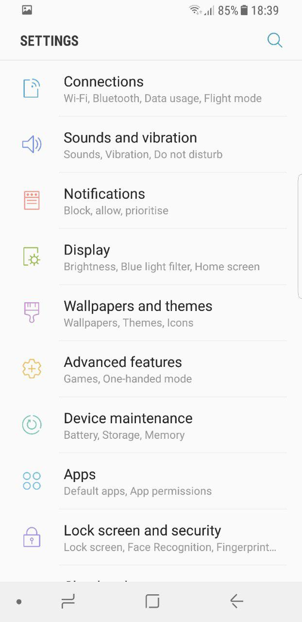تنظیمات رابط کاربری Samsung Experience
