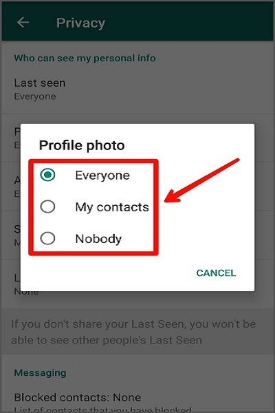 نحوه مخفی کردن عکس پروفایل از دیگران در واتس اپ