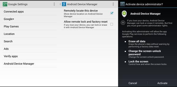 از Android Device Manager استفاده نمایید