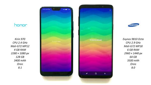 مقایسه مشخصات فنی S9 با Honor 10