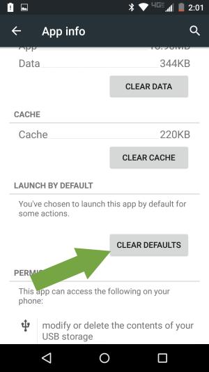 انتخاب گزینه Clear Defaults