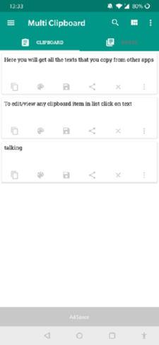 محیط برنامه جذاب و جالب و خوب Free Multi Clipboard Manager مدیریت کلیپ بورد اندروید
