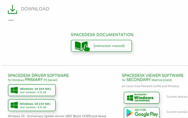 دریافت Spacedesk از سایت برنامه