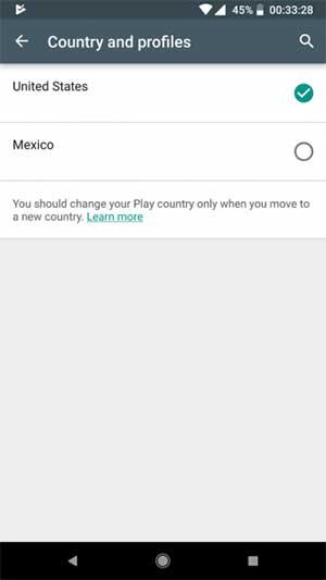 انتخاب کشور در گوگل پلی