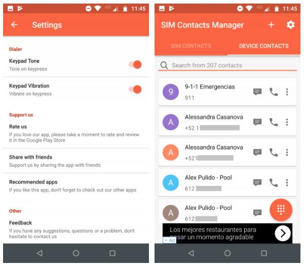 محیط برنامه SIM Contacts Manager