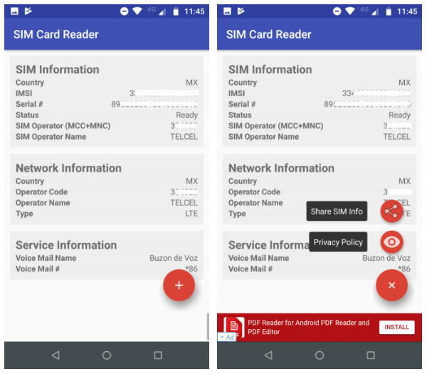 محیط برنامه جذاب و جالب و خوب SIM Card Reader