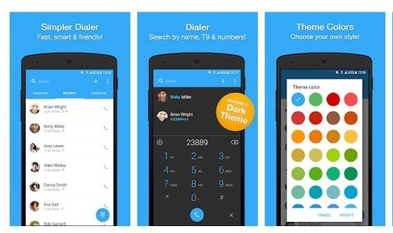 محیط برنامه Dialer, Phone, Call Block & Contacts by Simpler