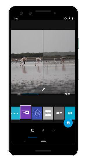 محیط برنامه Quik – Free Video Editor برای ساخت فیلم برای اندروید