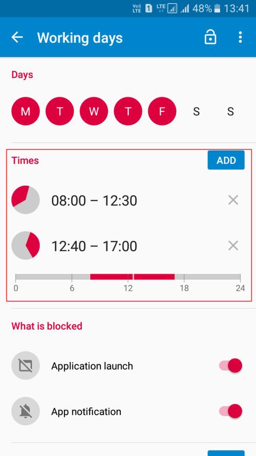 تنظیم زمان در App Block
