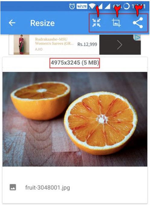 دکمه های کاهش حجم و سایز و به اشتراک گذاری برنامه Photo & Picture Resizer