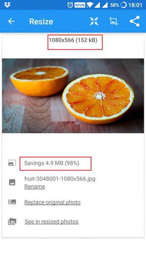 مقایسه عکس قبل و بعد از فشرده سازی در برنامه Photo & Picture Resizer