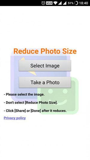 ورود عکس به برنامه Reduce Photo Size