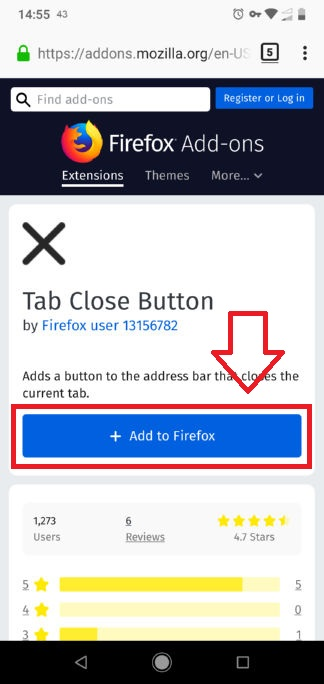 اضافه کردن افزونه به فایرفاکس اندروید