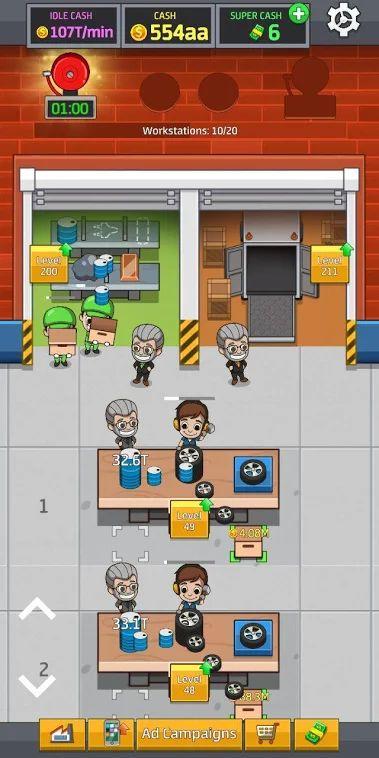 محیط بازی Idle Factory Tycoon