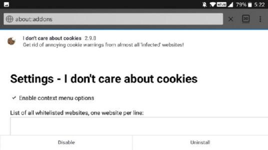 افزونه I Don't Care About Cookies فایرفاکس