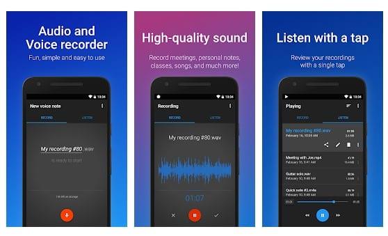 محیط برنامه Easy Voice Recorder
