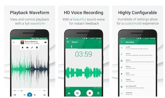 محیط برنامه Parrot Voice Recorder
