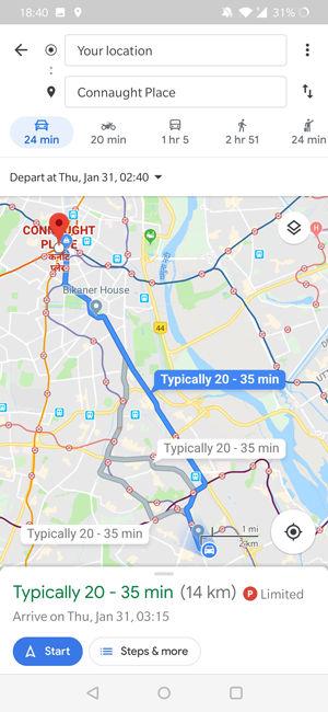 مشاهده پیش بینی ترافیک جاده با گوگل مپ