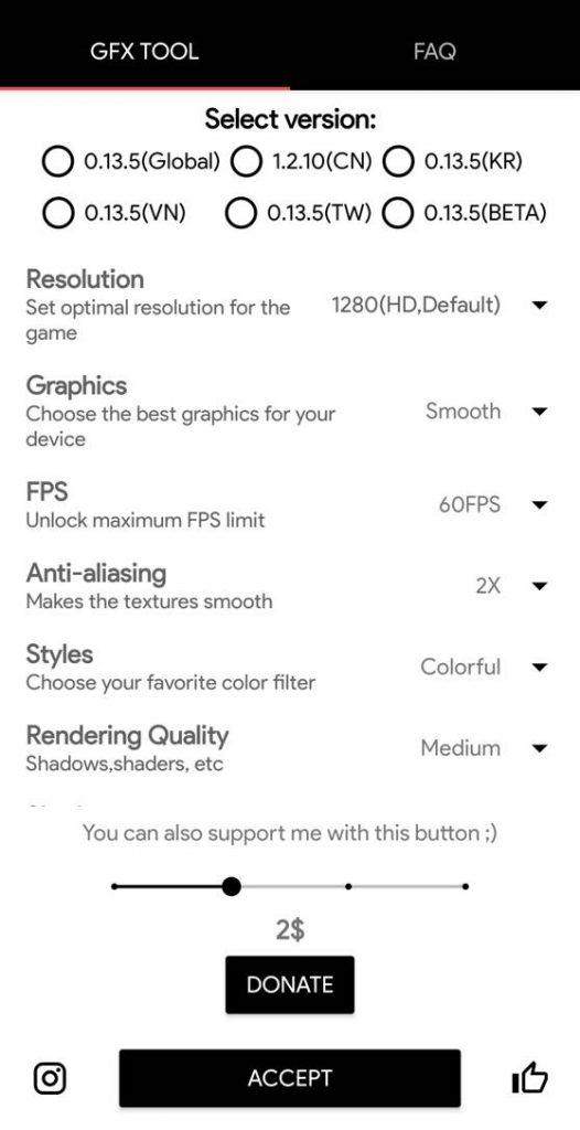 اسکرین شات از GFX Tool