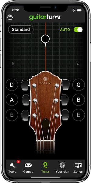 محیط برنامه GuitarTuna