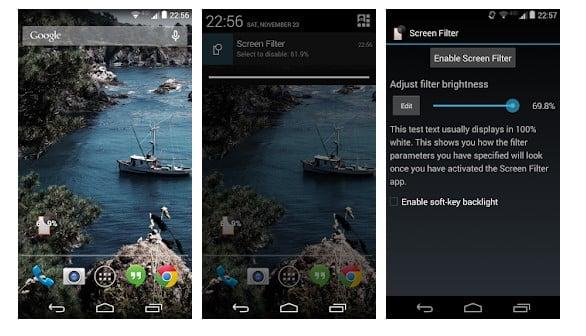 محیط برنامه Screen Filter