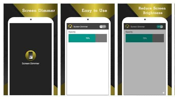 محیط برنامه Screen Dimmer