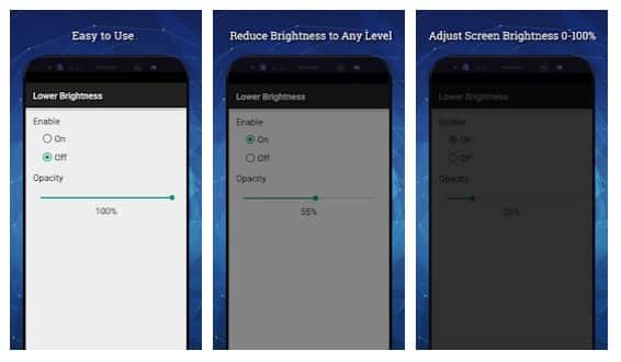 محیط برنامه Lower Brightness Screen Filter