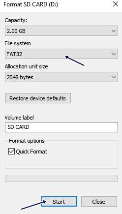 تنظیم FAT32 برای نوع فرمت