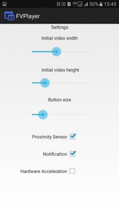 تنظیمات ابعاد ویدیو و دکمه ها در FVPlayer-floating video player