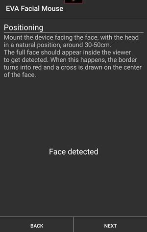 تنظیمات برنامه EVA Facial Mouse