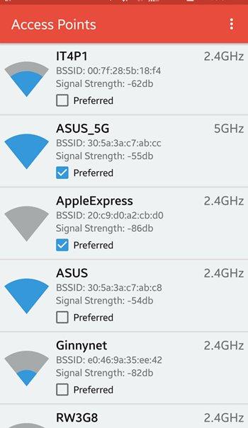 شبکه های بیسیم در برنامه Wifi Switcher