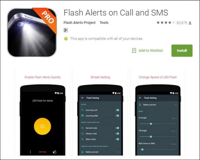 برنامه فلش چشمک زن Flash Alerts on Call and SMS اندروید