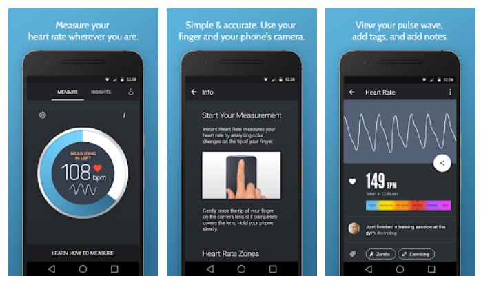 برنامه Instant Heart Rate برای سنسور گوشی اندروید