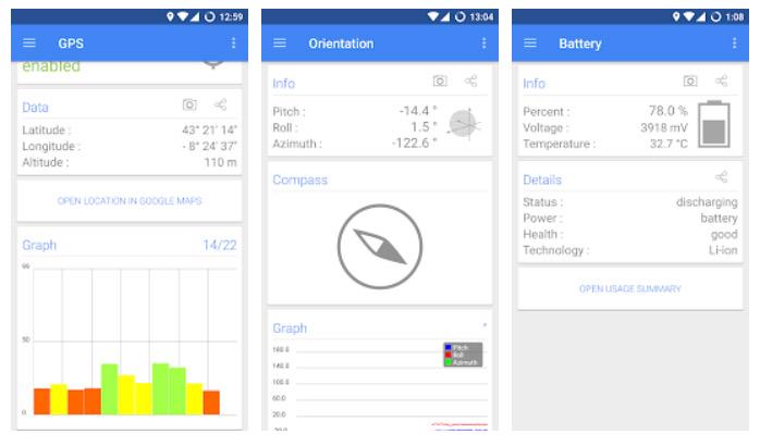 برنامه Sensors Multitool برای سنسور گوشی اندروید