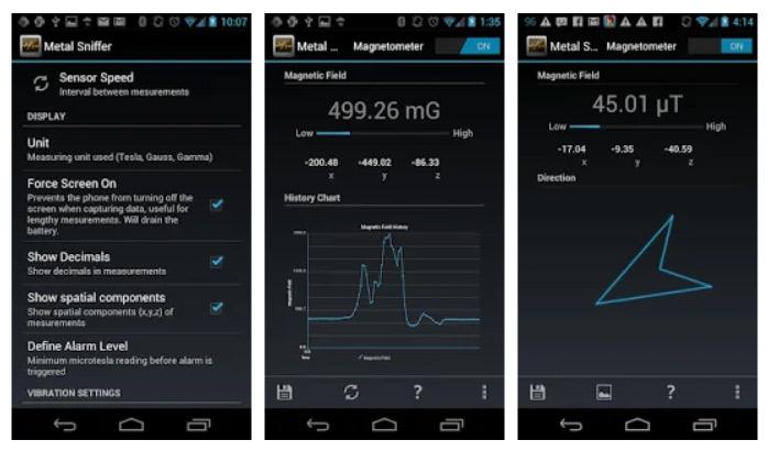 برنامه Metal Sniffer برای سنسور گوشی اندروید
