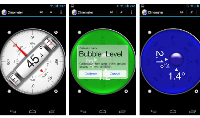 برنامه Clinometer + bubble level برای سنسور گوشی اندروید